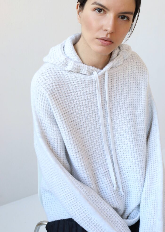 Soft white cashmere hoodie