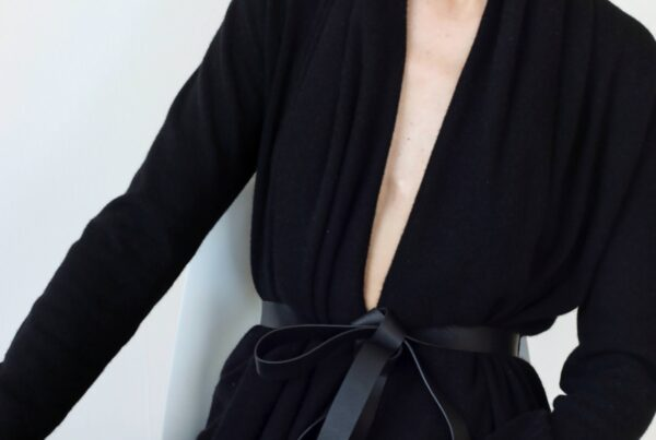 Black cashmere cardigan with belt