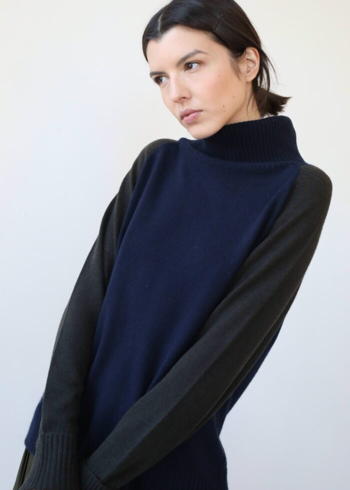 Navy and black cashmere sweater