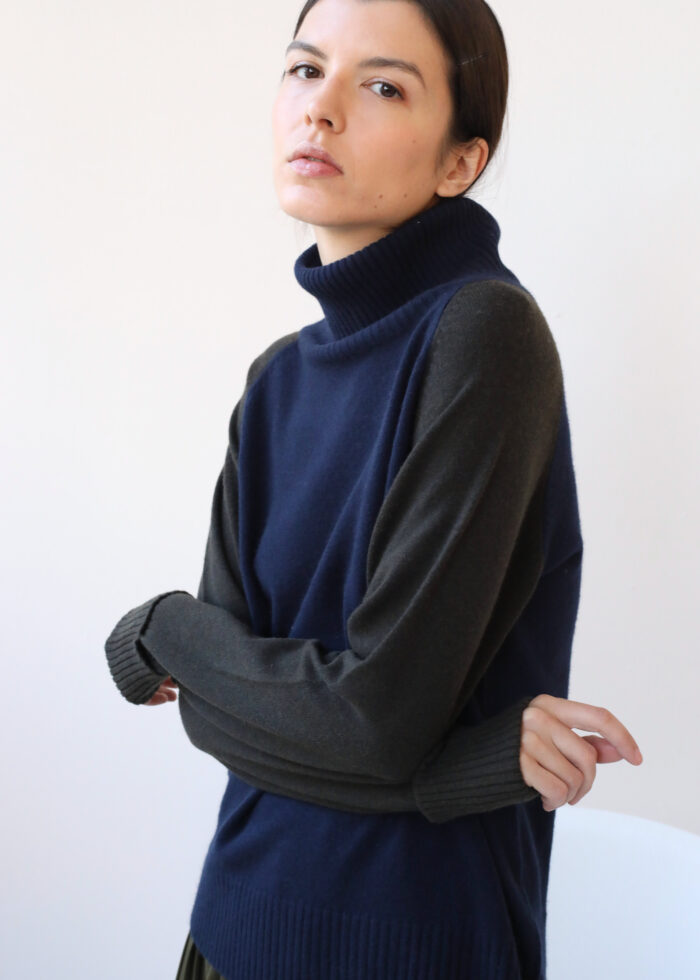 Navy and black roll neck cashmere sweater