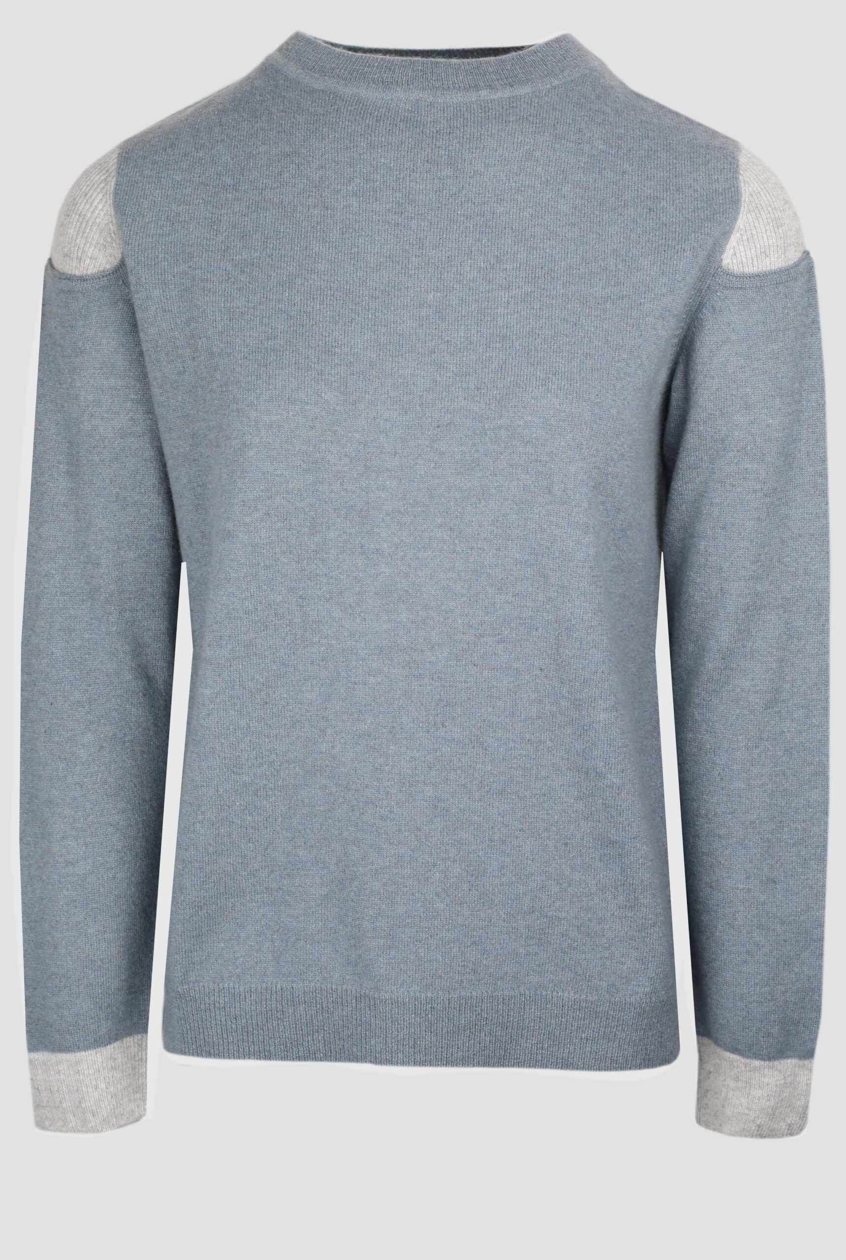 Grey crew neck cashmere sweater