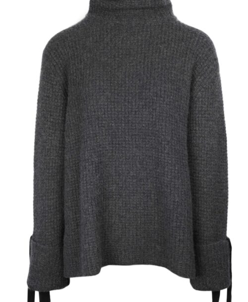 Grey roll neck luxury cashmere sweater
