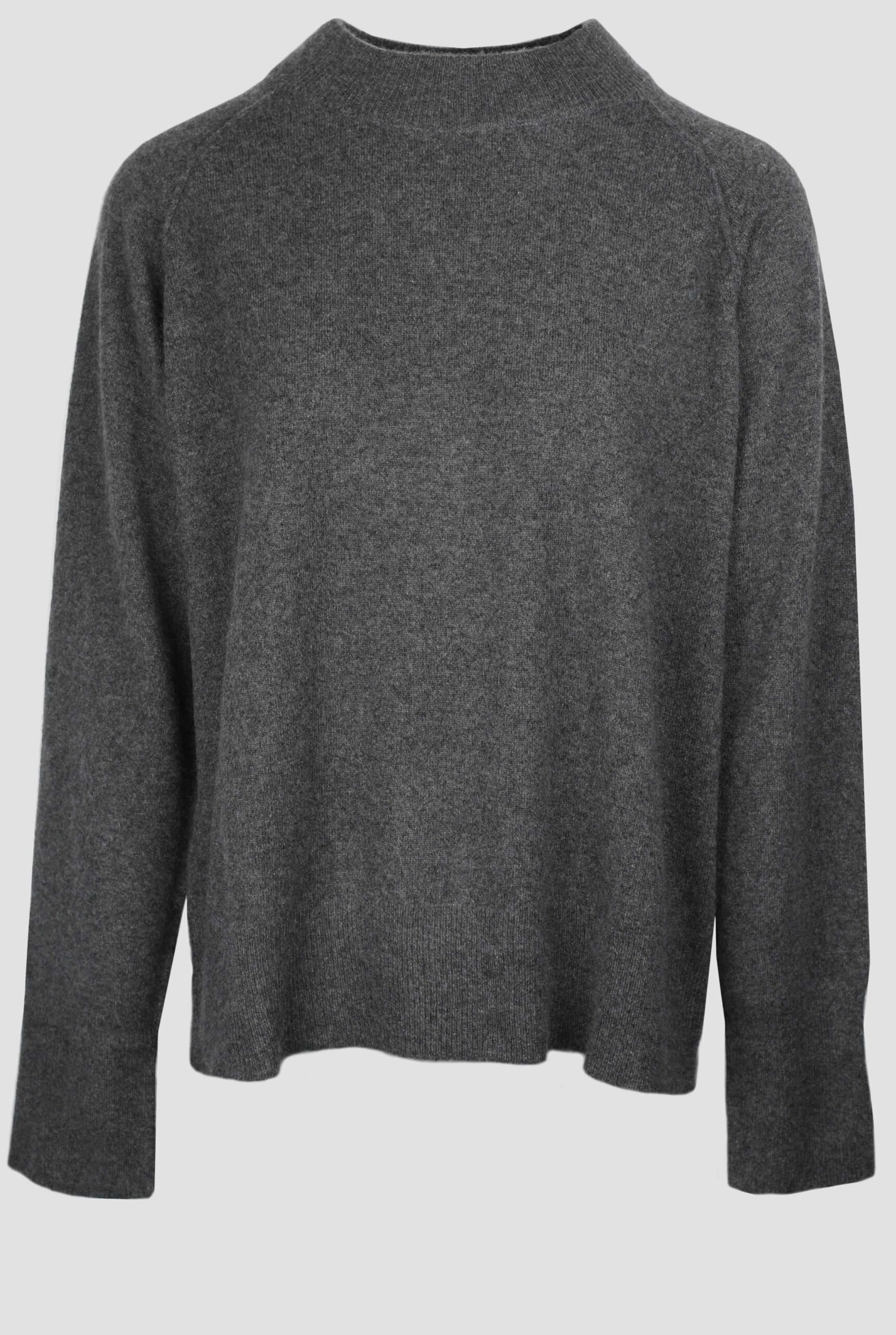 Grey high neck cashmere sweater