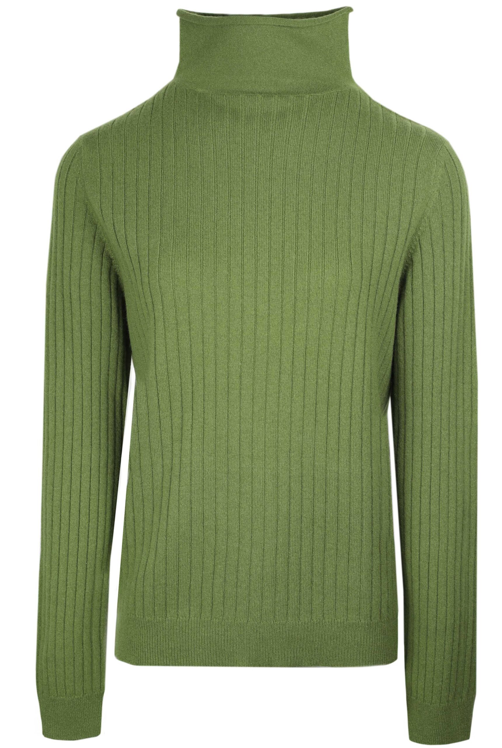 Fitted green roll neck cashmere sweater