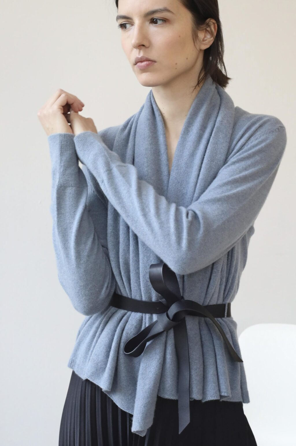 Soft blue wrap cashmere cardigan