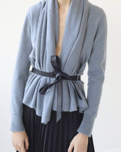 Wrap cashmere cardigan with belt