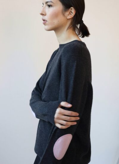 Charcoal cashmere sweater with elbow patches
